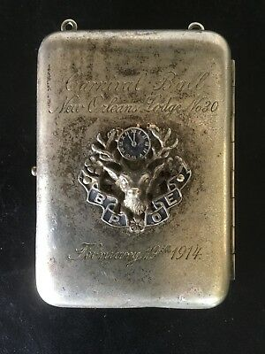 Antique 1914 CARNIVAL BALL NEW ORLEANS ELKS BPOE GERMAN SILVER COIN HOLDER RARE