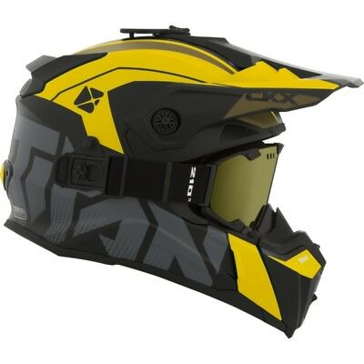 Ckx Titan Altitude Matte Yellow Modular Snowmobile Winter Helmet Goggle 2018