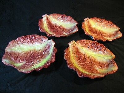 Four Rare Large Red Cabbage Leaf Bowls Made In Italy By Zanardello