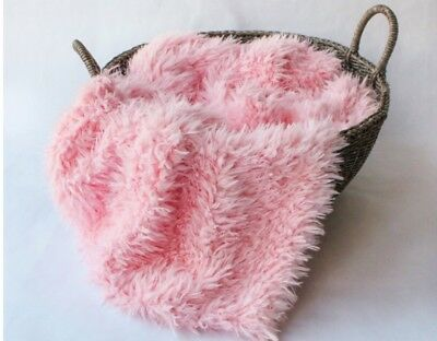 """baby pink Faux Flokati curly fur Photography Blanket props 18""""x20"""" Inches"""