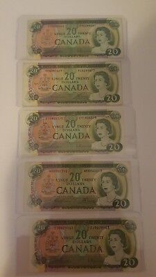 Bank Of Canada 1969- 5-$20 Canadian Bank Notes  Selling 1 For $30