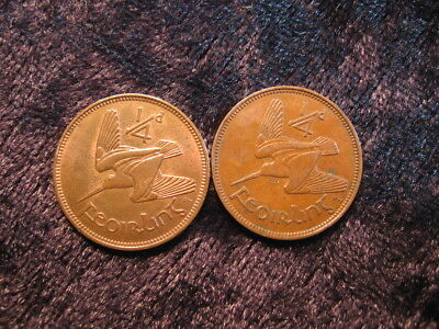 2 old world coin lot IRELAND farthing 1928 1939 KM1 KM9 woodcock bird FREE S&H