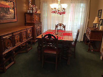10 piece 1930's Jacobean-style Oak Dining Room Suite Set