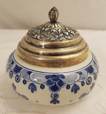 Delft Holland Covered Bowl/Dish w 830 Silver Lid~HH Hooijkaas~Lion/Key Hallmark