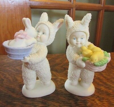 "Dept 56 Snowbunnies, Easter, ""a Basket Of Joy"",  ""a Basket Of Love"" Figurines"