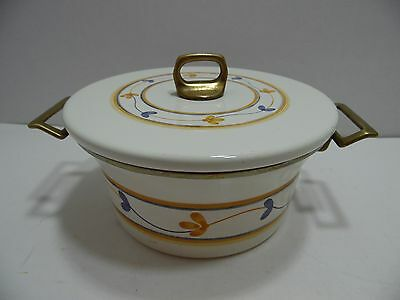 Vintage Porcelain Enamelware Enamel Sauce Pan Brass Handles French Country Style