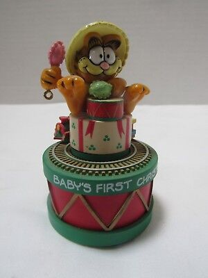 Vintage Garfield Baby's First Christmas Ornament Music Box