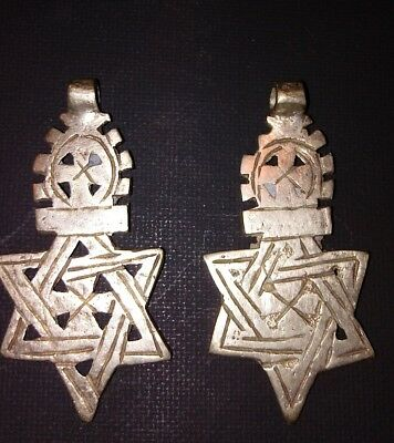 Antique Pair of Hand-made Metal Jewish Star of David Pendants/ Medalions