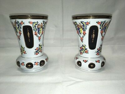2 Beautiful Cut To Clear Purple Amethyst Hand Painted Moser Bohemian Vases