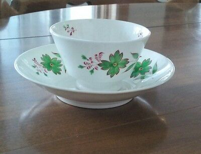 Antique Early 1800's Red And Green Sprig Style Handleless Cup And Deep Saucer