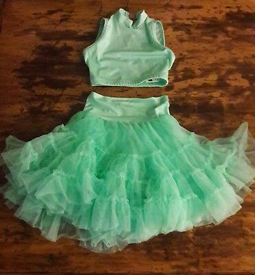 Girls Dance Costume Mint 2 Piece by Curtain Call Size Child Medium (CSM)
