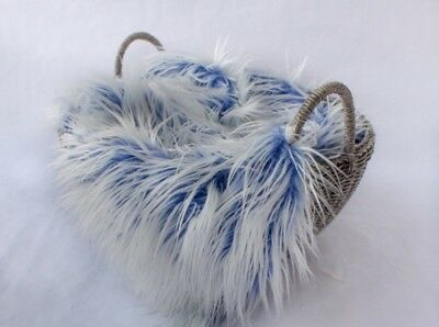 """Faux Fur Frosted blue 2 tone photo props 20""""x30"""" Newborn photography's."""