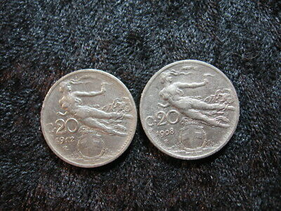 """2 old world coin lot ITALY 20 centesimi 1908 1912 KM44 flying """"nude"""" Liberty"""