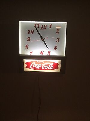 RARE 1950's Coca Cola Fishtail Metal Light Up Working Wall Clock ***WORKS**