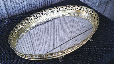 Oval Vanity Footed Mirror Tray 13 X 8 X 2 Great Vintage Condition Free Ship Lqqk