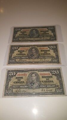 Bank Of Canada 1937-3- $20 Canadian Bank Notes  Selling 1 For $50