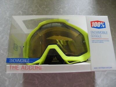 100% Accuri Snow Fluo Yellow Snowmobile Goggle w/Yellow Lens