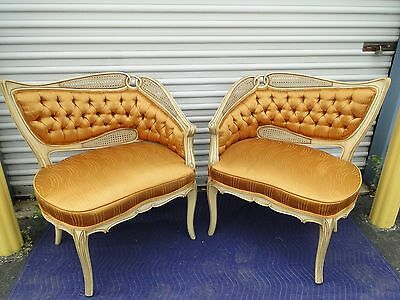 Pair of Vintage Hollywood Regency French Gold Fabric Fireside Chairs