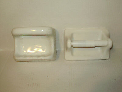 Vintage Porcelain White Wall Soap Dish And Toilet   Paper Holder Large Ones!`