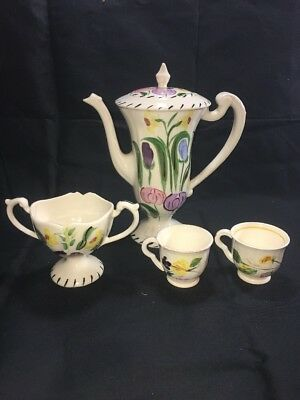 Blue Ridge China Chocolate Pot, Sugar, 2 Demitasse Cups, No Chips, Excellent