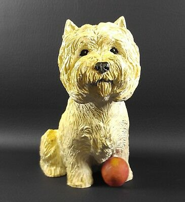 Signed J. Beasley Large WESTIE with Red Ball FIGURINE 1987