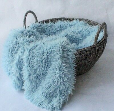 "Faux Fur Flokati curly Baby blue Photography Blanket props 18""x20"" Inches"