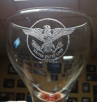 SS UNITED STATES LINES  WATER GOBLET GLASS  8 oz.
