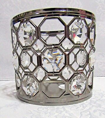 Bath & Body Works 14.5 oz large jar candle holder NICKEL & GEM sleeve WHITE BARN