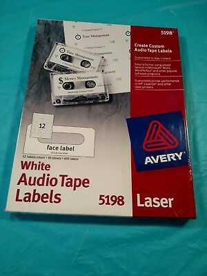Avery Laser 5198 White Audio Tape Labels - 50 sheets @ 12/Sheet - 600 Labels New