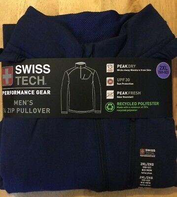 Men's Swiss Tech Performance Gear 1/4 Zip Pullover Peak Dry, Navy Blue Size XL