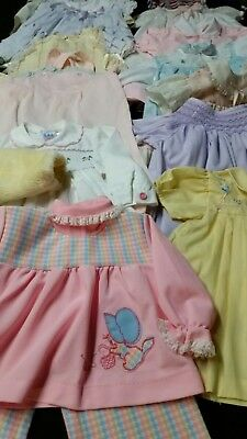Vintage Lot Of 15 infant Girl Items Size 12-18 Months