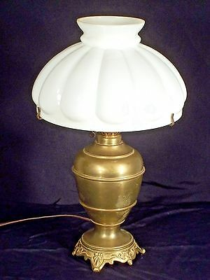 Antique Art Nouveau Brass Lamp On Fancy Footed Base With Lobed Milk Glass Shade