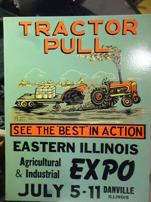 Original early 1960's Tractor pulling contest sign Danville IL * Great graphics