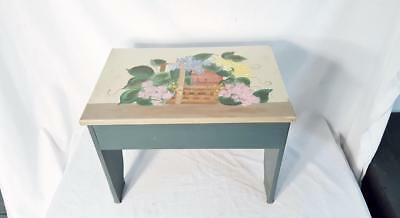 """Custom Painted Garden Flower Plant Stand Foot Stool Bench 17 1/2"""" long"""