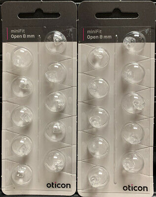2 Pack Oticon miniFit 8mm Open Domes For Hearing Aids. 20 Domes Total.