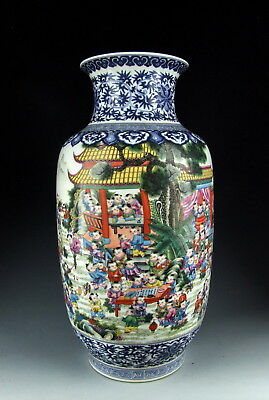 Chinese Antique B&W Famille Rose Porcelain Vase with Hundred of Boys Deco