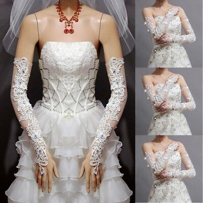 Lace Long Fingerless Bridal Gloves Rhinestone Party Gloves Wedding Accessories