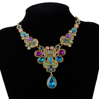 Retro Colorful Rhinestone Crystal Gem Pendant Choker Chunky Statement Necklace