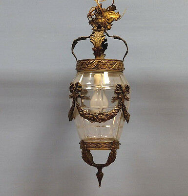 Antique Fench louis XVI bow bronze baccarat glass lantern chandelier rare