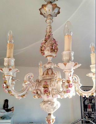 Capodimonte porcelain  VTG italian 60's chandelier 6 arms marked floral decor