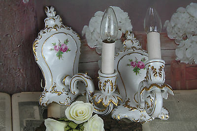 gorgeous Vintage PAIR French porcelain 70's sconces floral wall lights
