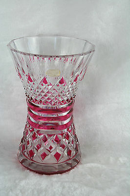 VAL SAINT LAMBERT Ruby RED crystal clear cutted VASE signed 1920 Belgian