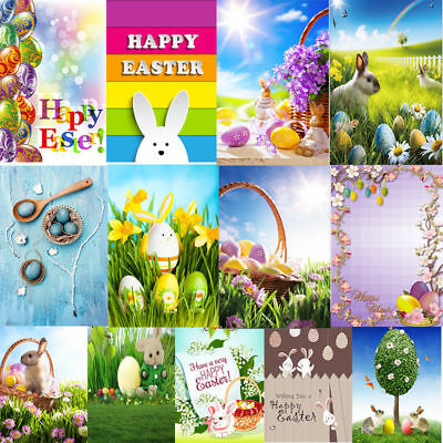 3X5/5X7FT Easter Vinyl Photography Backgrounds Rabbits Grassland Photo Backdrops