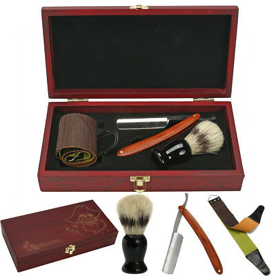 Barber Shaving Kit Set Straight Razor Shaving Brush Strop Wooden Box Father Gift