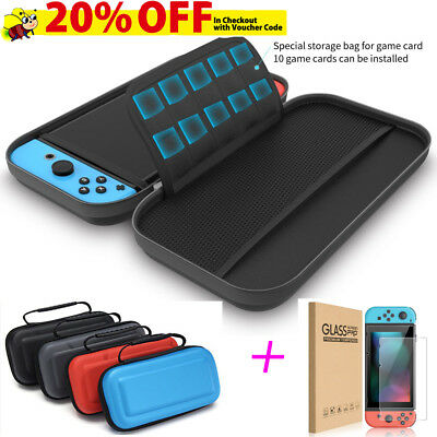 EVA Hard Nintendo Switch Carrying Case Bag & Tempered Glass Screen Protector