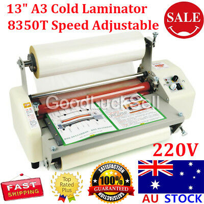 8350T 33.5cm A3+ Roll Laminator Speed Adjustable Four Roller Hot Cold Laminating