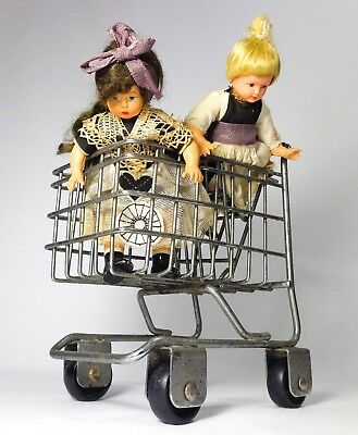 Vintage Miniature Silver Steel Wire Toy Doll Grocery Cart Carriage W/wheels