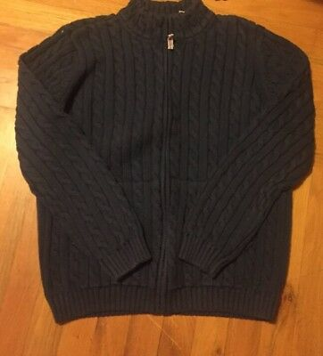 Kids Girls Ll Bean Blue Full Zip Up Sweater Jacket Long Sleeve Size Xl
