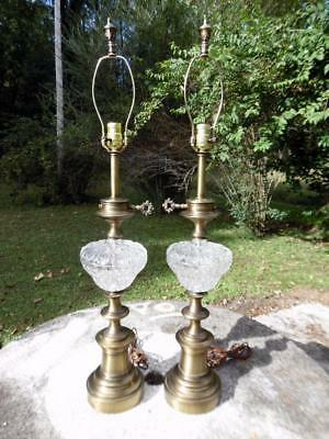 Pair of Large Hollywood Regency Vintage Brass & Patterned Crystal Table Lamps