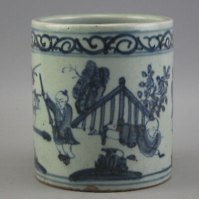 China Porcelain hand painting blue & white children Pen container Brush pots